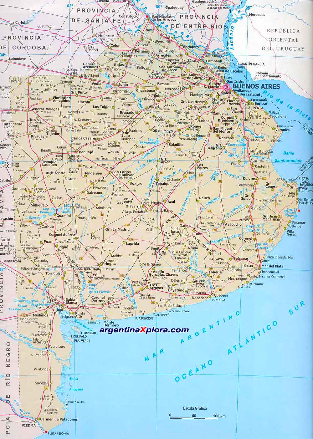 road map and locations of buenos aires argentina. map of the province of buenos aires