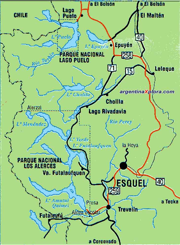 Map of Esquel and Lago Puelo - Chubut - Argentina